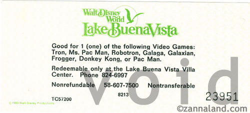 Arcade Coupon good for 1 game at the Lake Buena Vista Center