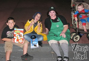 """Our darling Cereal Killer, Coraline, my ghoulish """"Scare-ista"""" costume, and Spider-Mickey!"""