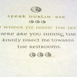 a drink coaster offers some tips on speaking Dublin-ese