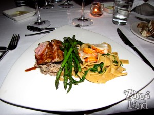Duck and lobster entree at The Wave