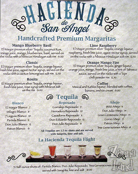 la hacienda drink menu
