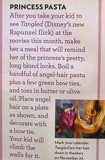 Rapunzel Tangled princess pasta recipe