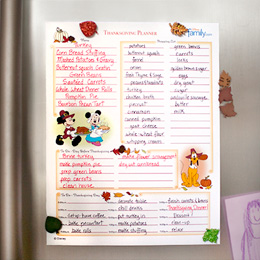 Disney Thanksgiving planner