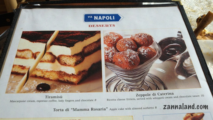 Changes to Via Napoli Dessert Menu