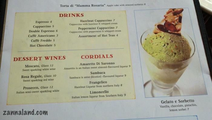 Via Napoli new dessert menu