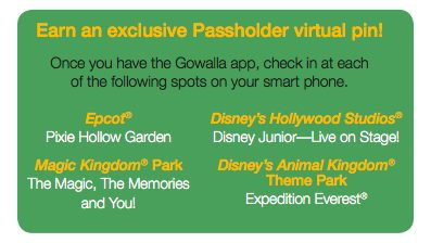 Gowalla Disney Passholder Virtual Pin check-ins