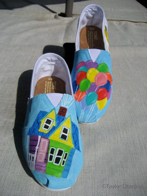 "Disney Pixar's ""UP"" Custom Fan-Painted Tom's Shoes"
