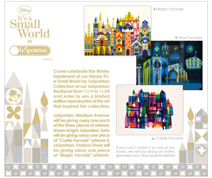 Disney's It's A Small World LeSportsac Mary Blair Artwork Giveaways