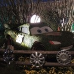 Lightning McQueen topiary at night