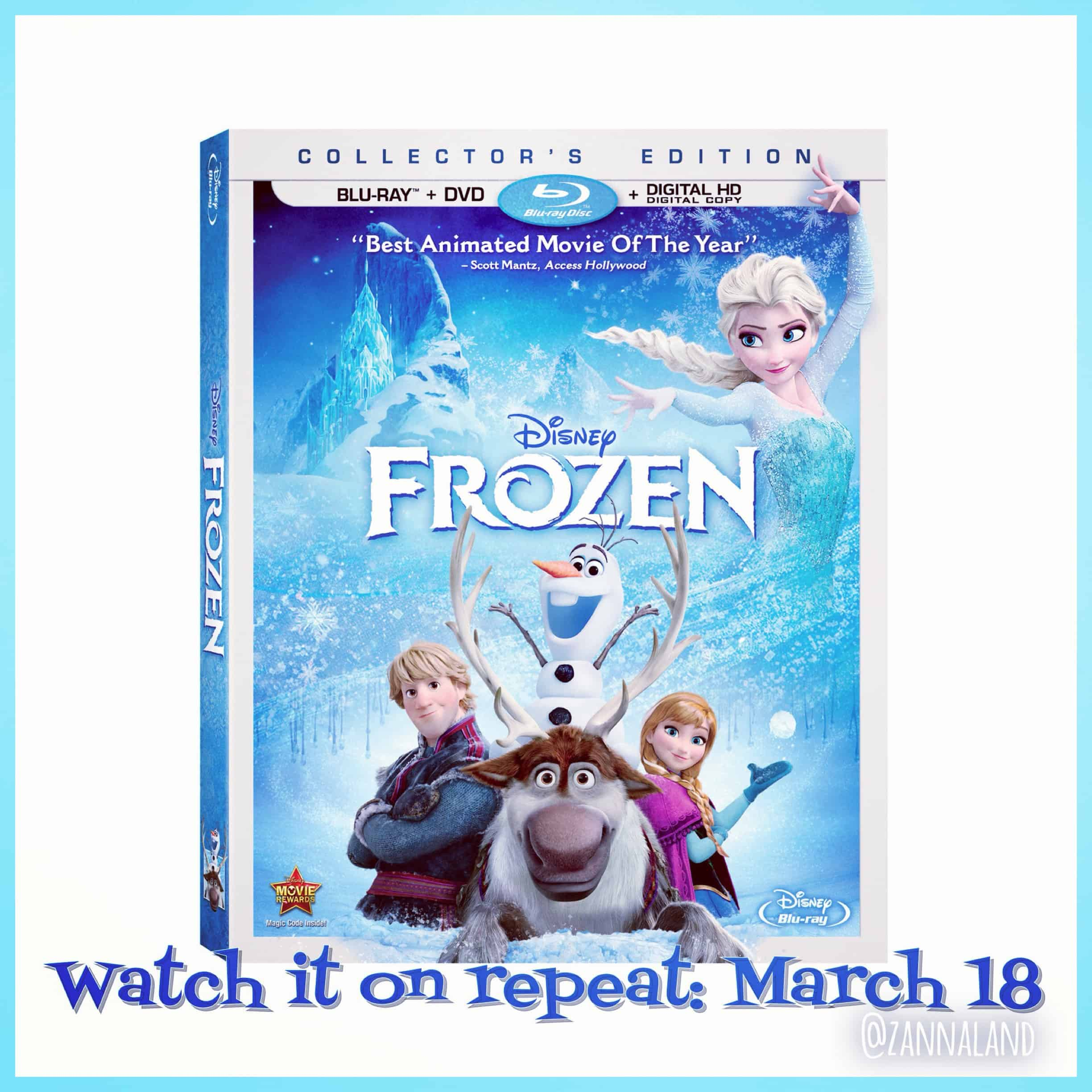 Frozen on Blu Ray and DVD March 18