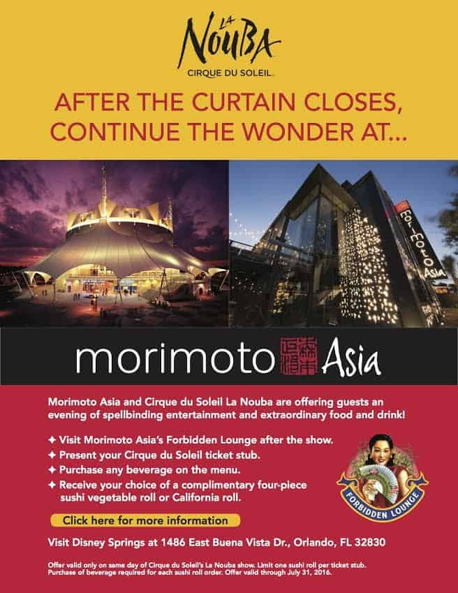 Morimoto Asia is offering a special deal for guests of Cirque du Soleil's La Nouba at Disney Springs. Simply bring your Cirque du Soleil ticket, purchase a beverage off the Morimoto Asia menu, and you'll receive your choice of complimentary four-piece sushi vegetable roll or California roll! (And I highly […]