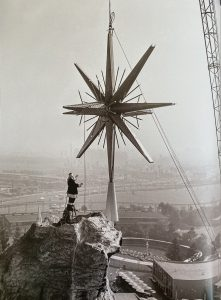Santa atop Disneyland's Matterhorn