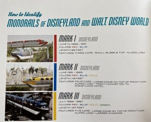 Monorails of Disneyland and Walt Disney World list