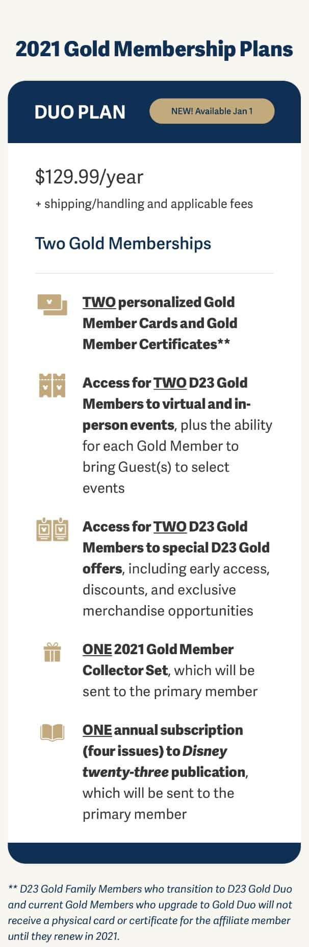 D23 Gold Duo Membership info