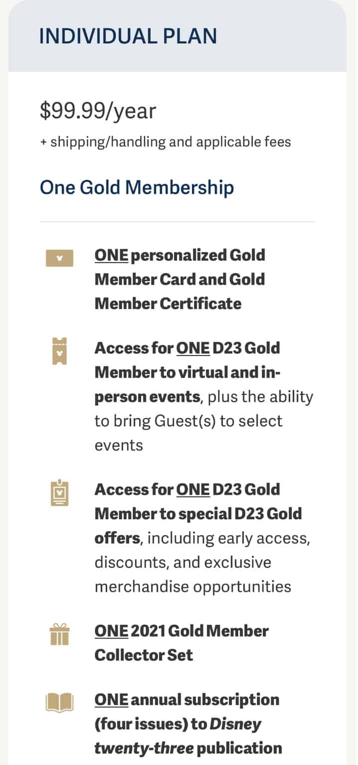 D23 Gold Individual Membership price